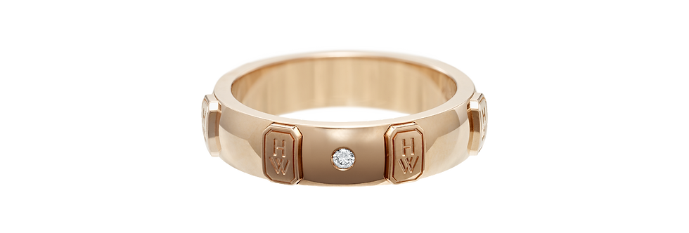 HW Logo Band Ring, Rose Gold