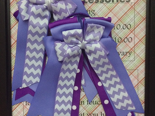Purple chevron & polka dot bows!