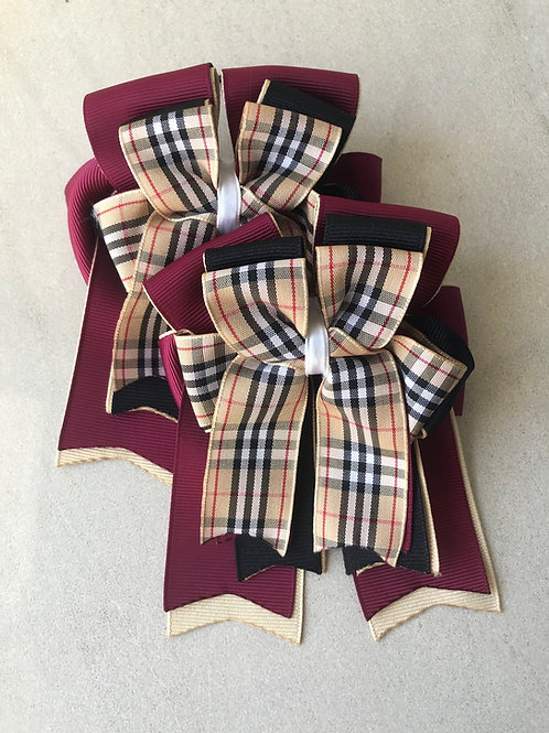 Burgundy plaid bows!