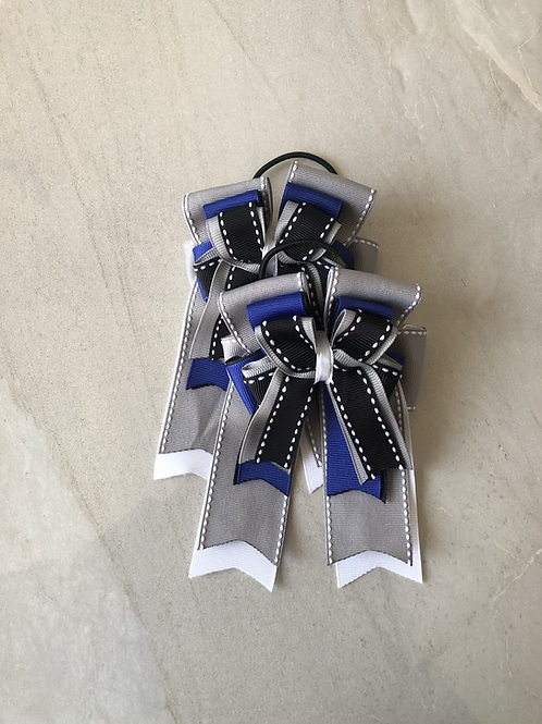 Grey, black & royal blue bows!