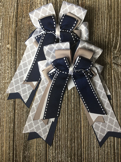 Grey & navy stitched bows!