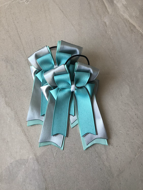 Teal & silver bows!