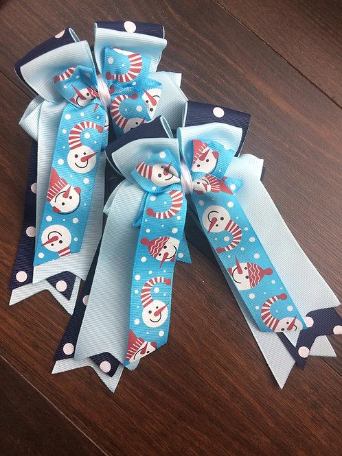Blue snowman bows!