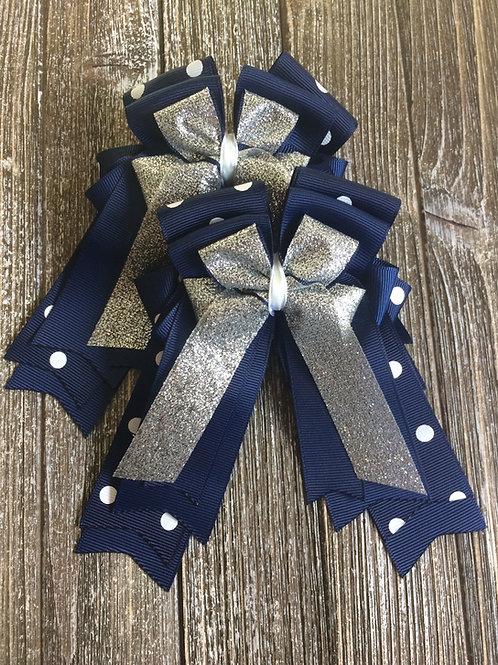 Navy polka dot sparkle bows!