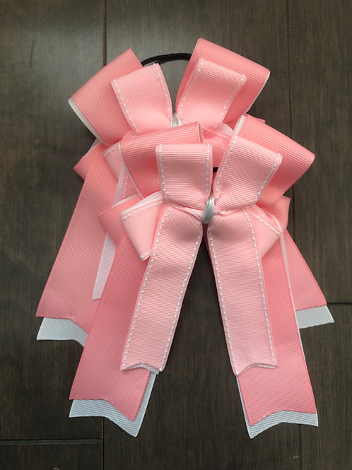 Pink & white stitched bows!
