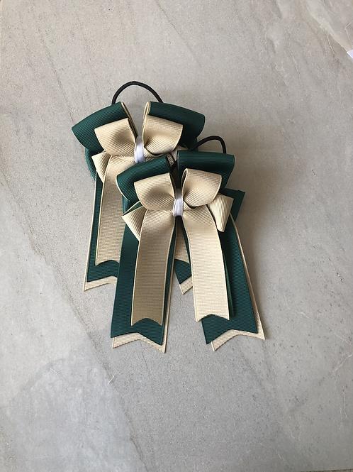 Sand & hunter green bows!