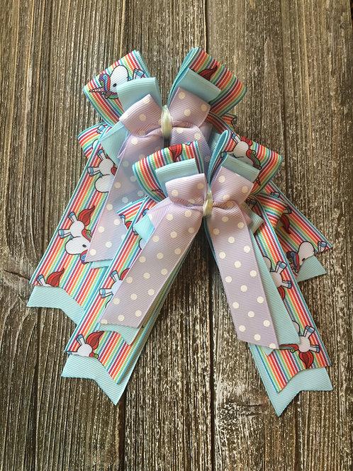 Rainbow unicorn bows!