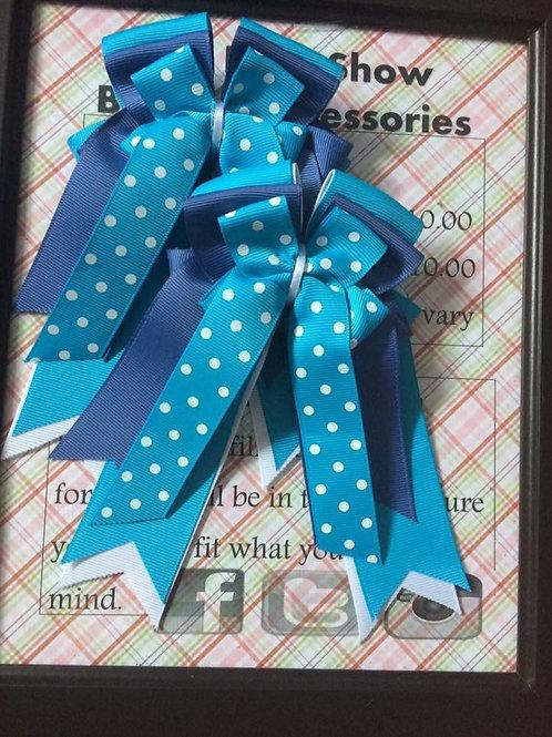 Turquoise & smoke blue polka dot show bows!