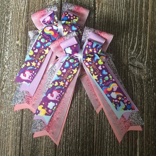Pink & purple unicorn bows!