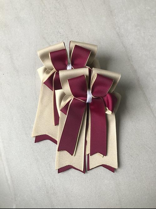 Sand & burgundy bows!