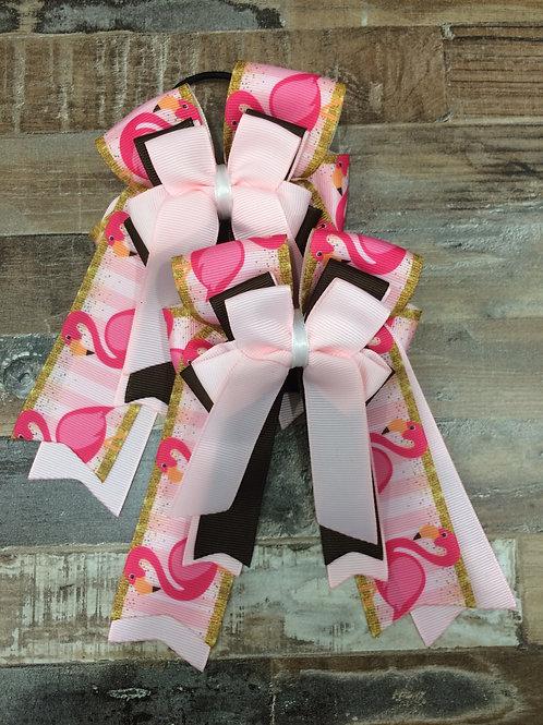 Brown & pink flamingo bows!