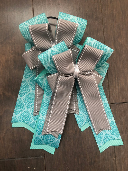 Teal & grey patterned bows!