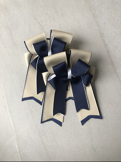 Sand & navy bows!