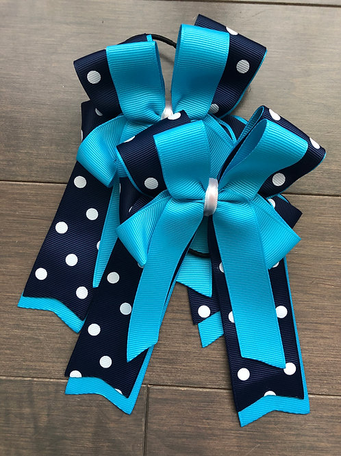Navy & sky blue polka dot bows!