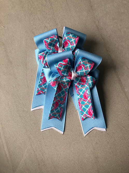 Baby blue flamingo bows!