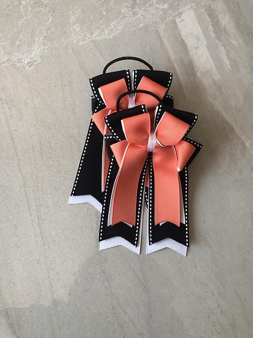 Peach & black stitched bows!