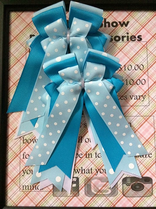 Blue polka dot bows!