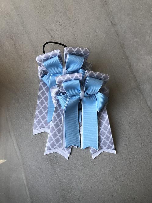 Baby blue quatrefoil bows!
