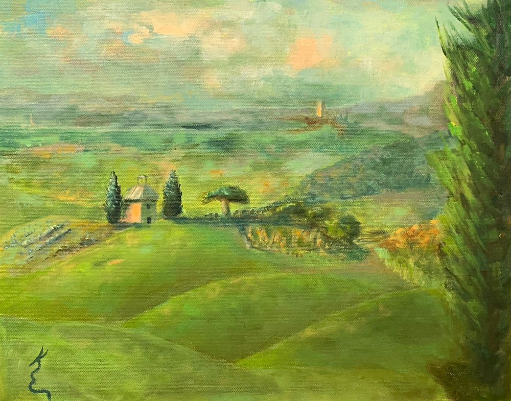 Italy Landscape, Castle on a Hill, by Kate Emery