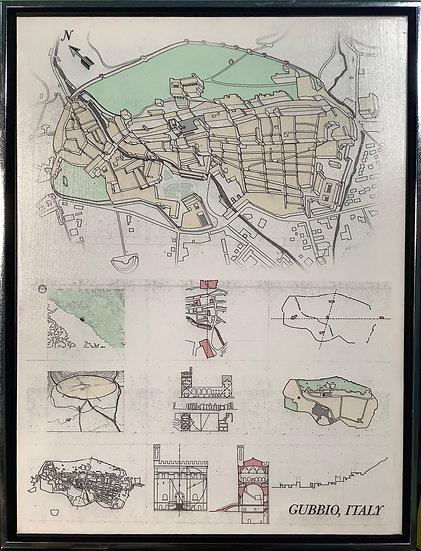 Gubbio, Italy technical art print