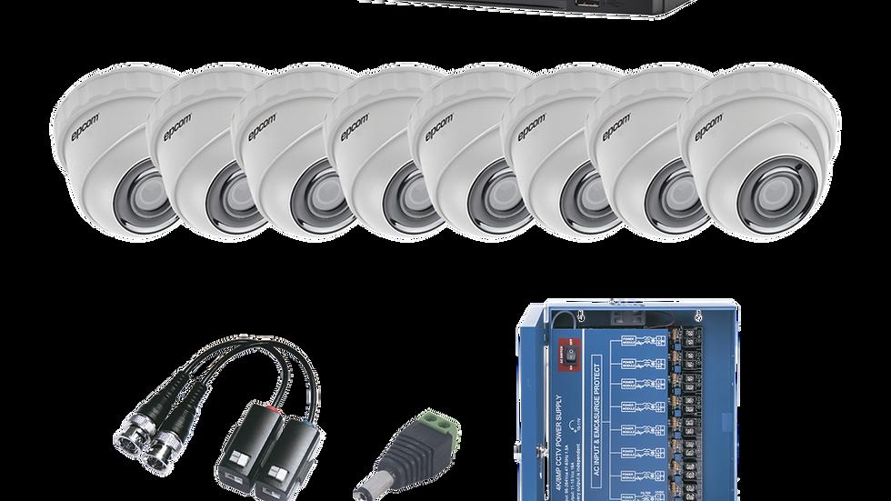KIT TurboHD 1080p / DVR 8 Canales / 8 Cámaras Eyeball (exterior 2.8 mm) /