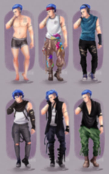 A fashion page of an alternative styled artist in different clothes
