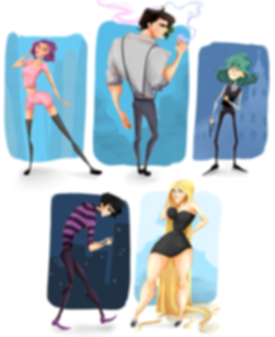 Full body character concepts drawn in exatturated cartoon style