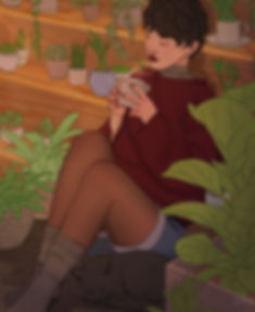 A petite girl sitting on the floor surrounded by plants and her black cat as she drinks tea
