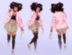 A front side and back turnaround of a cat eared female, who is walking and eating a donut