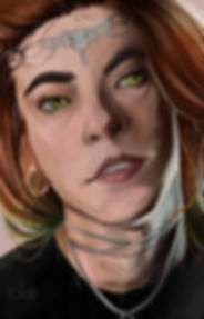 Realistic painting of an androgynous character with stretched ears, long orange hair, and a tiara