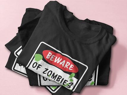 pink-black-beware of zombies-t-shirt-moc