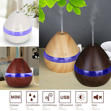300ML Air Humidifier Essential Oil Diffuser Wood Grain Aromatherapy Led Light