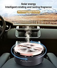 Car Solar Aromatherapy  Silent Auto Rotating  Car Air Freshener