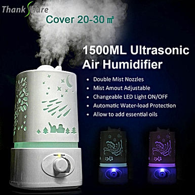 THANKSHARE 1500 Ml  Diffuser Ultrasonic Air  7 Color LED  Aromatherapy
