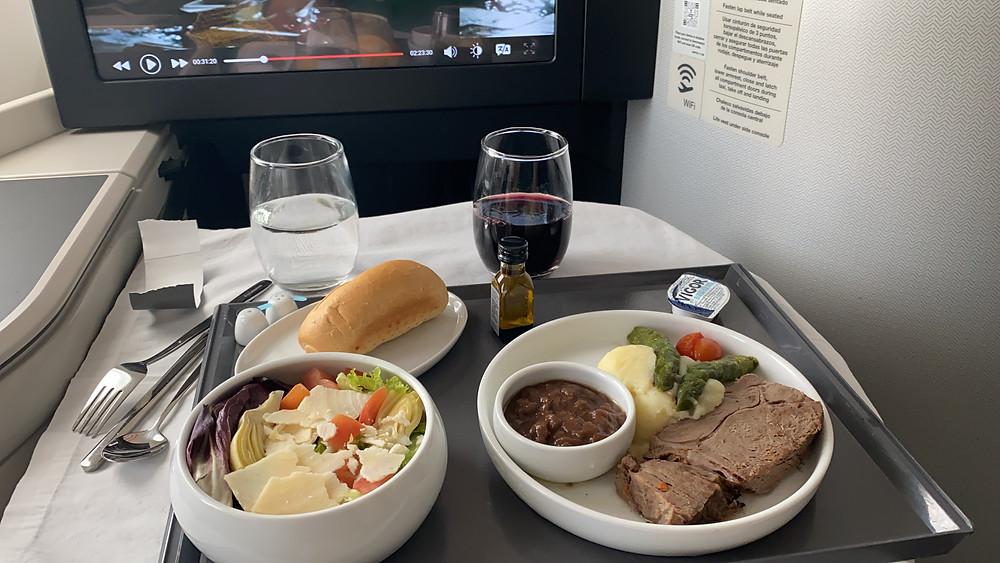Opção de Carne na executiva da Aeromexico