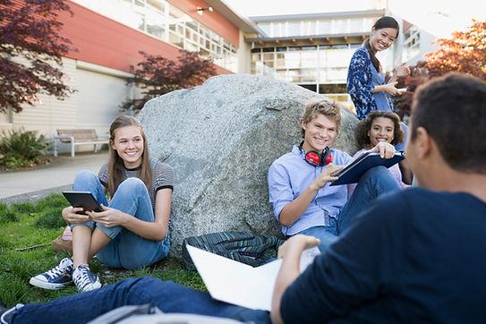 Los estudiantes en un descanso