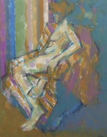 Figure in a Striped Chair 2000