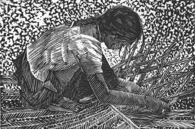 Girl Weaving Palm Leaves, S. India 2018