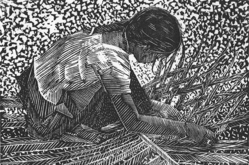 Girl Weaving Palm Leaves, S. India 2018