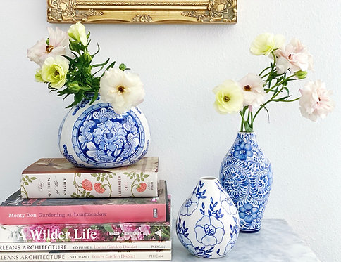 Blue and White Bud Vase Trio