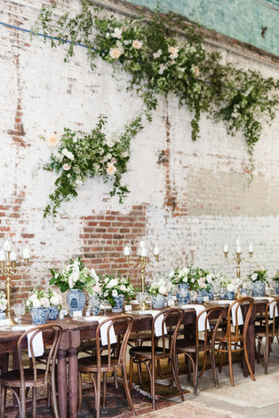Leaf + Petal, New Orleans, weding, seated dinner, intimate wedding, blue and white wedding, flower wall