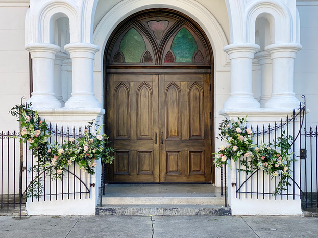 Felicity Church, Lower Garden District, Wedding, Flowers, Leaf + Petal, Gate Florals