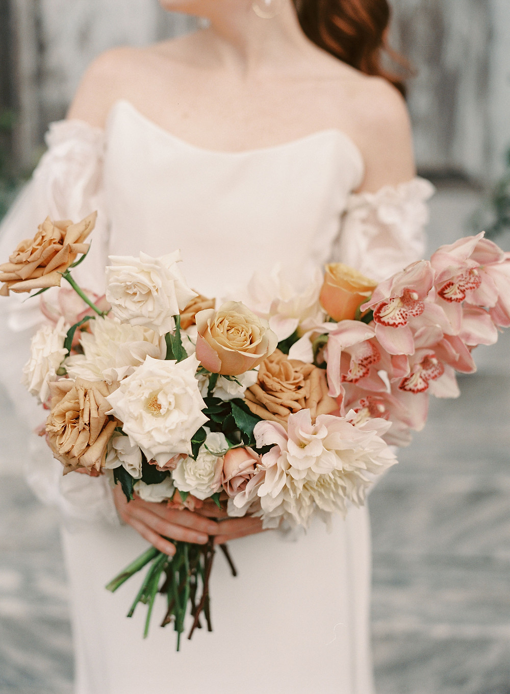 Leaf + Petal wedding, Marigny Opera House, garden flower bridal bouquet, wedding bouquet, toffee roses, orchids, Alexandra Grecco dress, Bridgerton wedding,