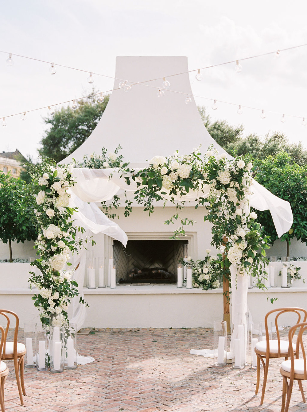 floral chuppah with drapery at Il Mercato in New Orleans