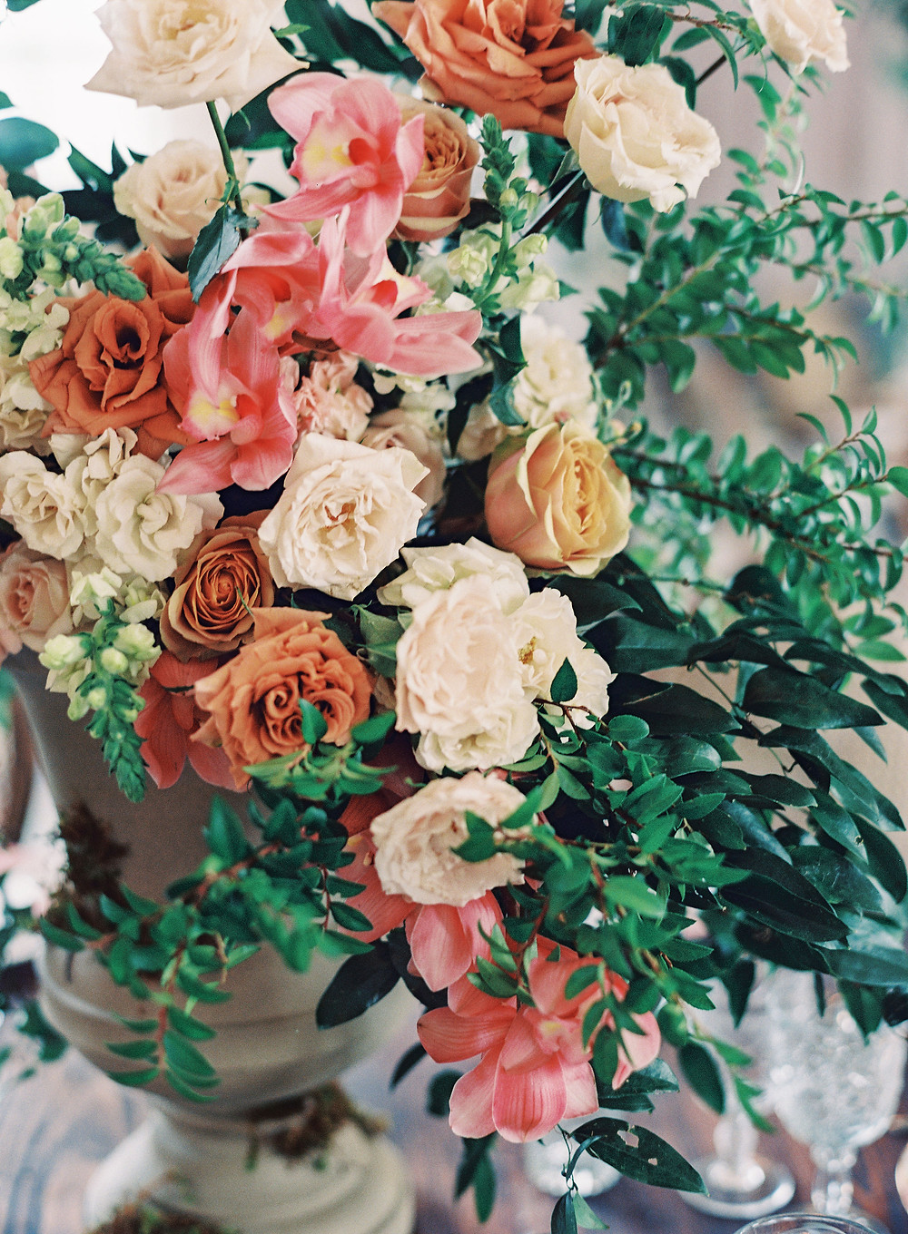 Leaf + petal, New Orleans, Marigny opera house, toffee roses, cappuccino roses, orchids, garden urns, Bridgerton wedding