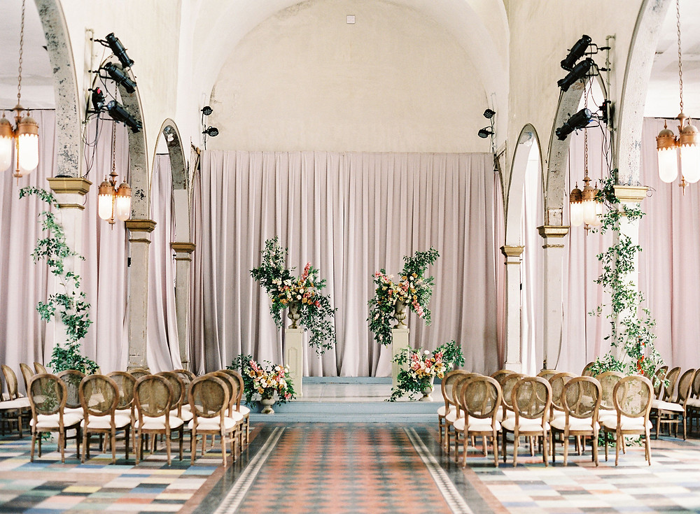 Marigny Opera House, New Orleans, Wedding, Bridgerton Wedding, Leaf + Petal, Lovegood Rentals, Caneback chairs, greenery wedding