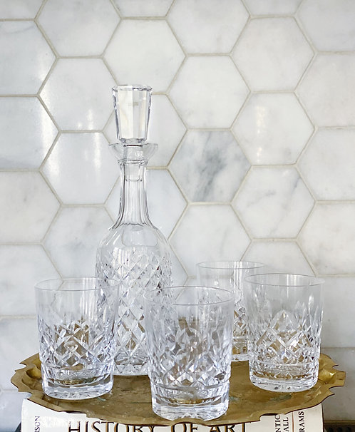 Vintage Waterford Decanter & Whisky Glasses Set