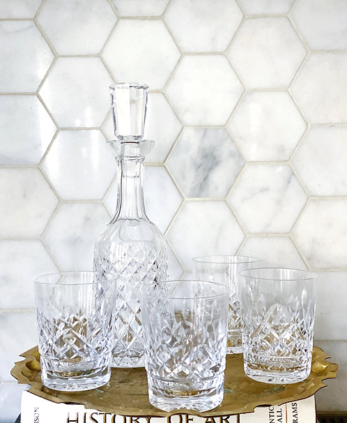 Vintage Waterford Decanter & Old Fashion Glasses Set
