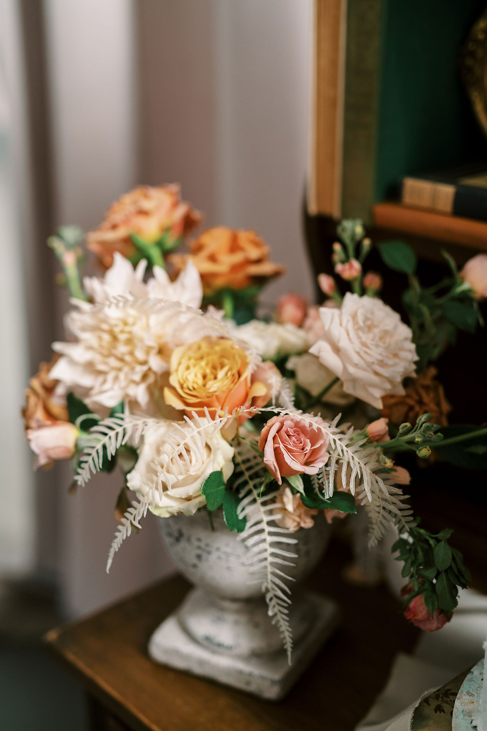 leaf + petal, flowers, Marigny opera house, Bridgerton wedding, centerpiece, toffee roses
