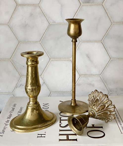 Brass/Gold Candle Stick Trio